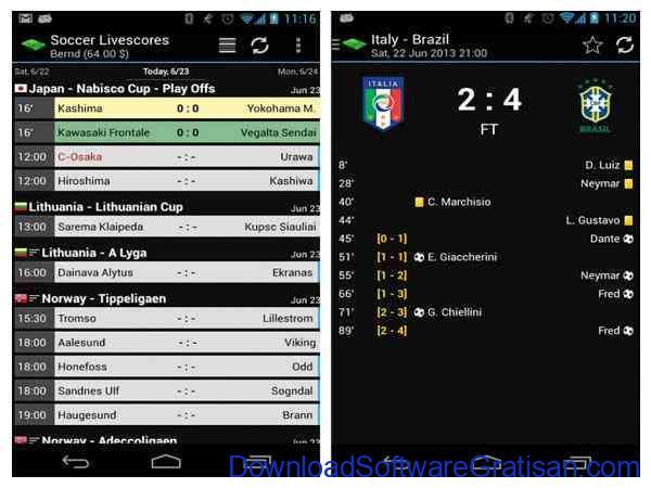 Aplikasi Livescore & Jadwal Bola Android Soccer Livescores