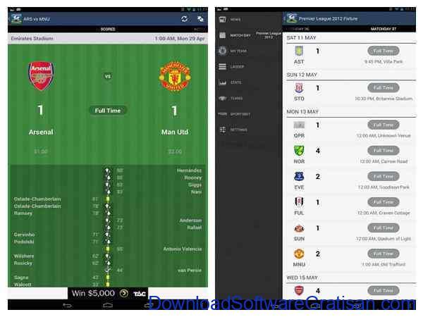 Aplikasi Livescore & Jadwal Bola Android Premier League Live