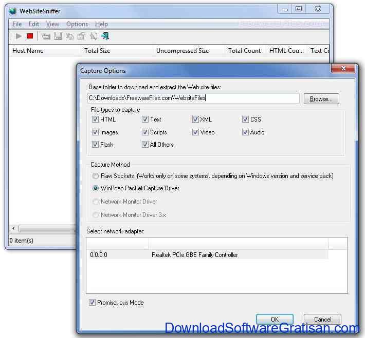 Aplikasi Untuk Melacak Aktifitas Browser : WebSiteSniffer