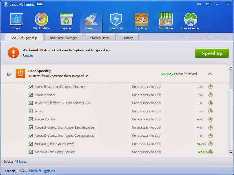 Aplikasi untuk Optimasi PC : Baidu PC Faster