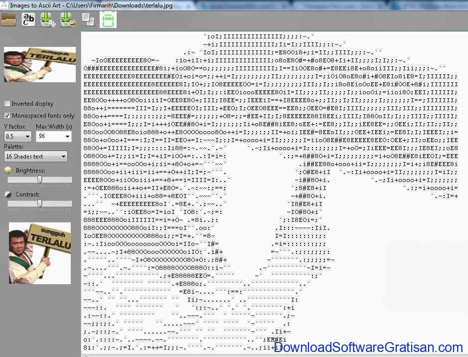 Aplikasi Konversi Gambar Ke ASCII Art : Images to ASCII Art