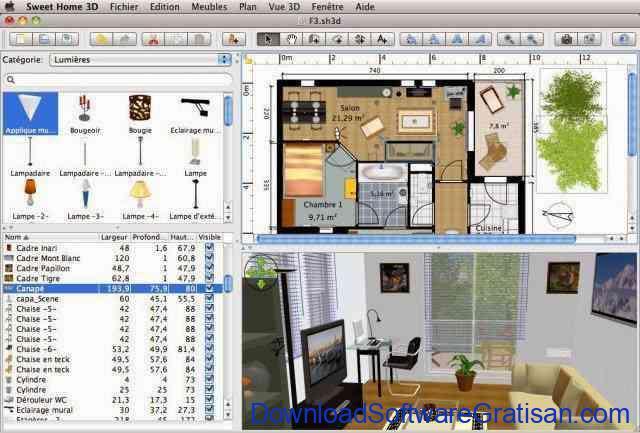 Aplikasi Desain Rumah Gratis untuk PC: Sweet Home 3D Tampilan