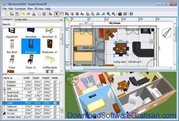 Aplikasi Desain Rumah Gratis untuk PC: Sweet Home 3D Layout