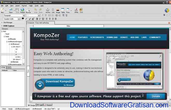 Aplikasi Web Design kompozer