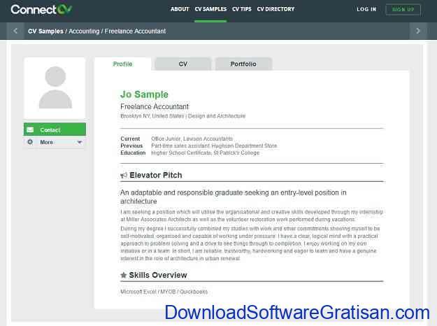 Aplikasi untuk Membuat CV Kreatif Secara Online ConnectCV
