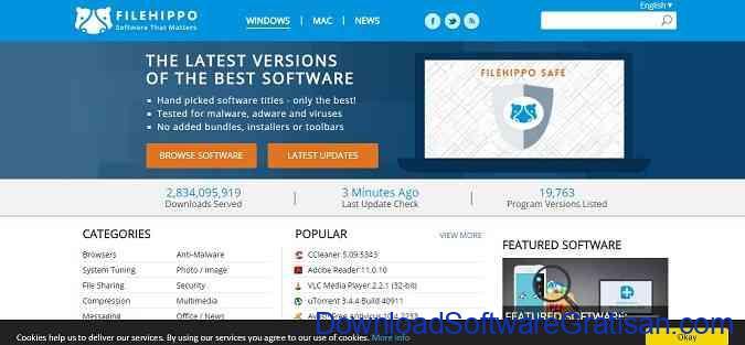 Situs Download Aplikasi PC FileHippo