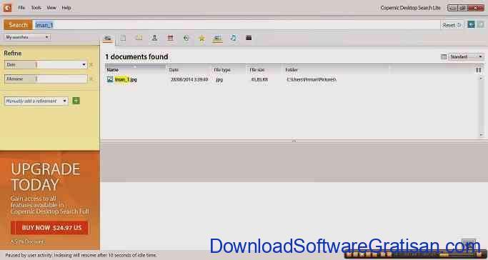 Aplikasi Pencarian File : Copernic Desktop Search Lite