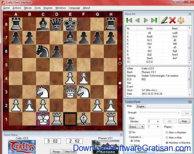 Permainan Catur Crafty Chess Interface