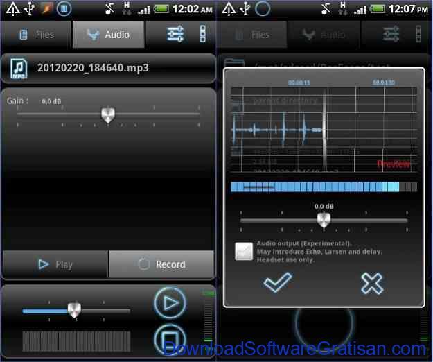Aplikasi perekam suara dan musik RecForge Lite - Audio Recorder