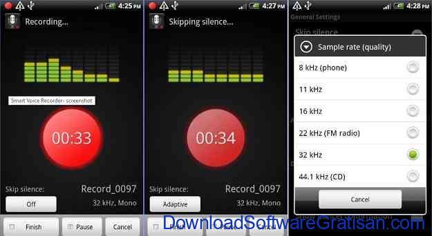 Aplikasi perekam suara dan musik Smart Voice Recorder