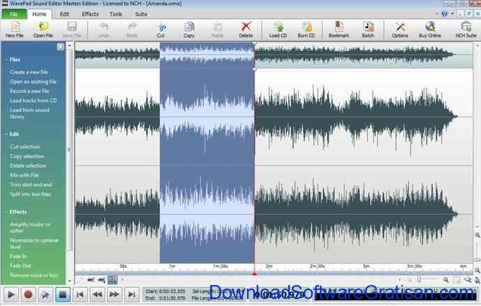 Aplikasi Edit Mp3 wavepad