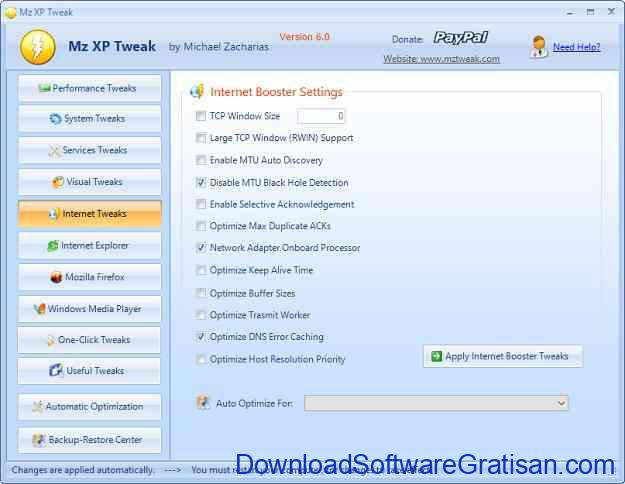 Aplikasi untuk Mempercepat Koneksi Internet MZ XP Tweak 2