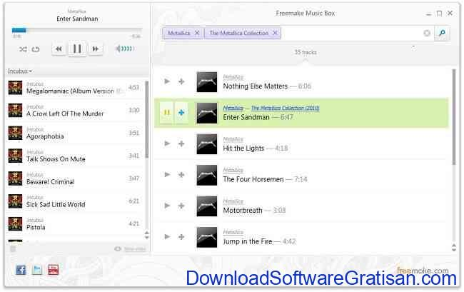 Aplikasi Pemutar Musik Online: Freemake Music Box