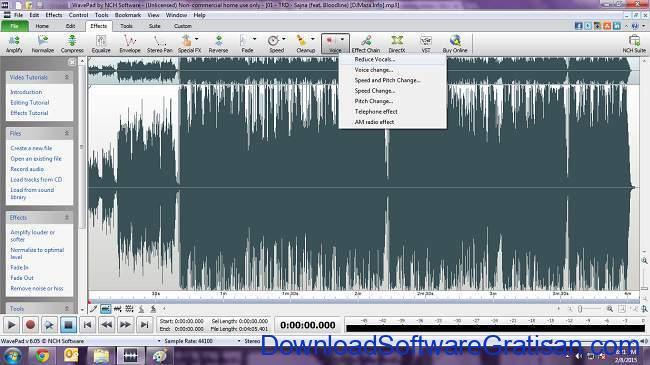 Aplikasi untuk Menghilangkan Suara Vokal pada Lagu wavepad