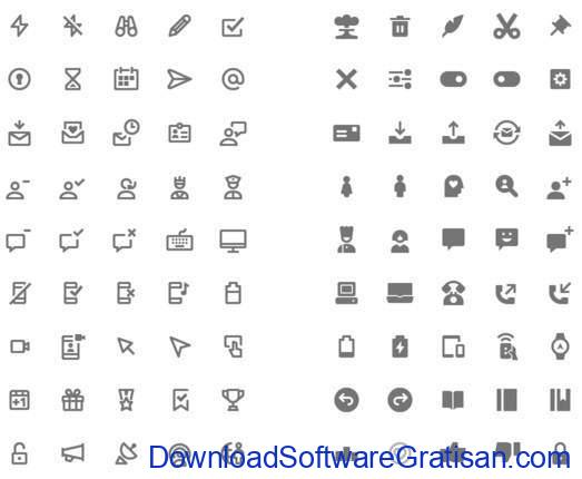Line and Solid Material Design Icons Set by Webalys