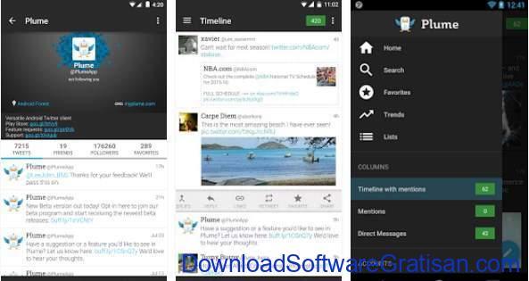 Aplikasi Twitter Terbaik Android Plume for Twitter