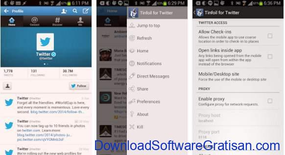 Aplikasi Twitter Terbaik Android Tinfoil for Twitter