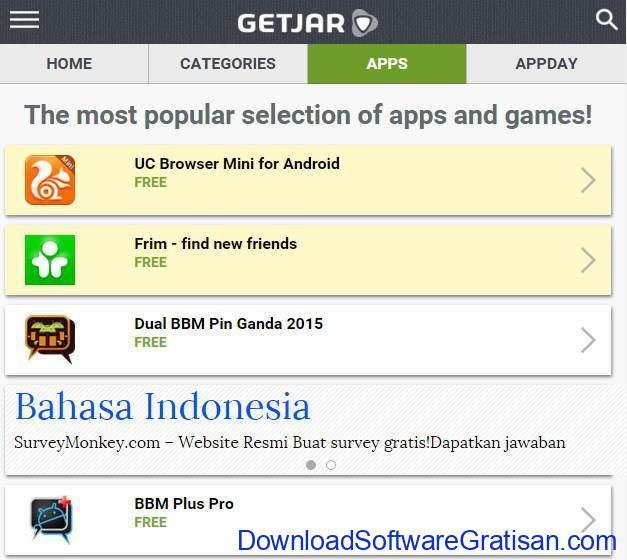 Situs Download Aplikasi Android Terpopuler & Terbaik getjar