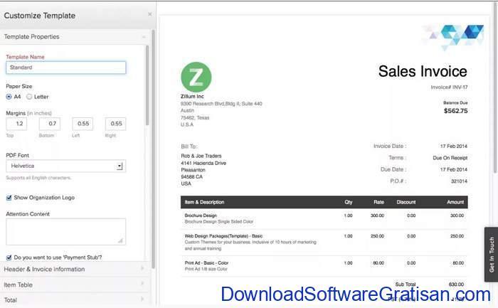 Aplikasi untuk Membuat Invoice zoho invoice