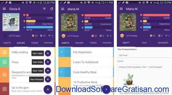 Aplikasi Gratis Android yang Berguna dan Bermanfaat Habitica