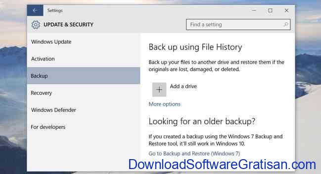 windows 10 backup-file history