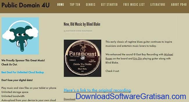 Situs Download Lagu Gratis Terbaik public domain 4u