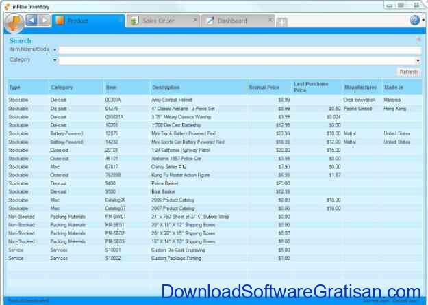 Aplikasi Persediaan Stok Barang dan Gudang inFlow Inventory