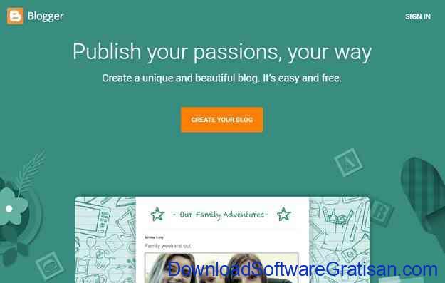 Website Blogging Gratis dan Populer Blogger