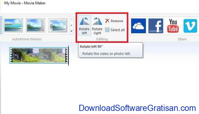 Merotasi Video Dengan Movie Maker Rotate Menu
