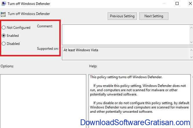 Turn off Windows Defender policy