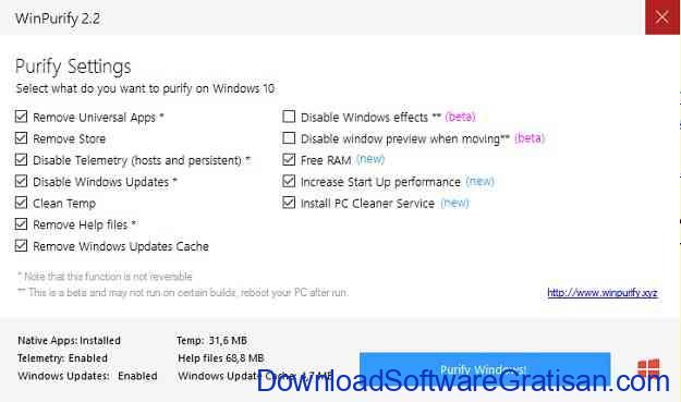 Aplikasi Gratis untuk Optimasi PC WinPurify