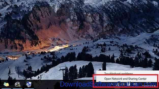 Network and Sharing Center Menu