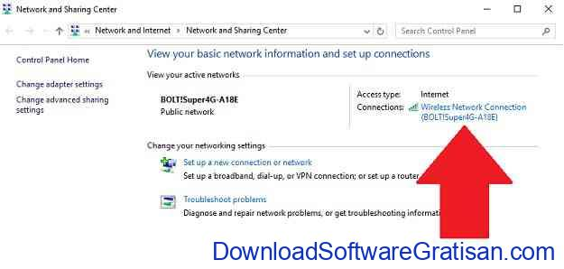 Network and Sharing Center Window
