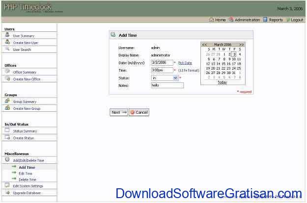 Aplikasi absensi karyawan - PHP Timeclock