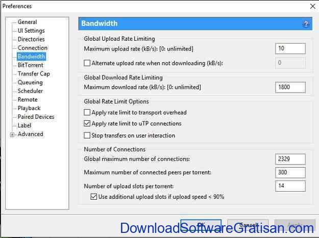 Cara Mempercepat Download uTorrent pengaturan bandwidth