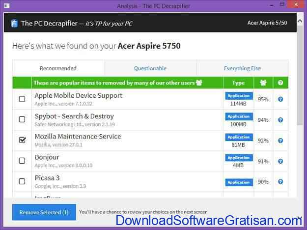Aplikasi mempercepat kinerja laptop PC Decrapifier