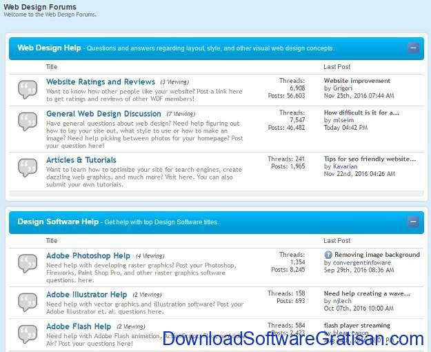 Forum Terbaik untuk Web Designer Webdesignforums.net