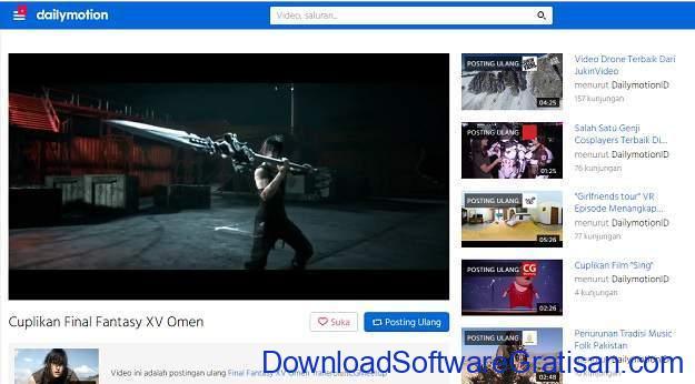 Situs Berbagi Video Gratis Selain Youtube dailymotion