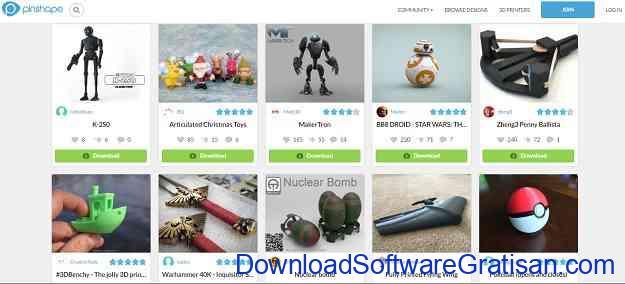 Situs Download Model STL Gratis untuk Printer 3D Pinshape