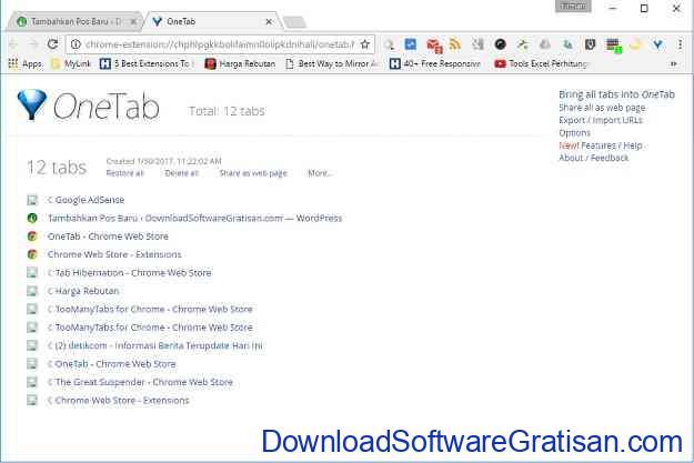 Plugin Chrome untuk Mengelola Tab OneTab