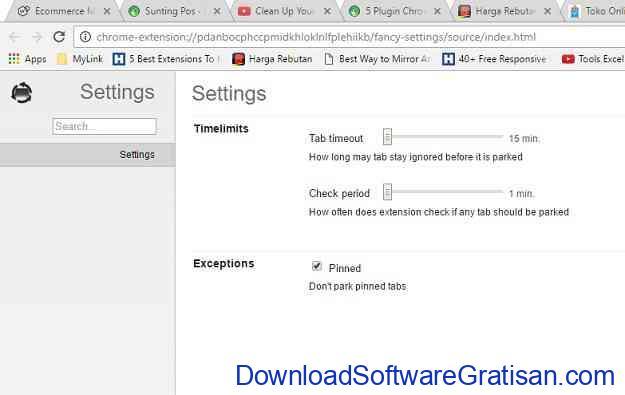 Plugin Chrome untuk Mengelola TabMemFree