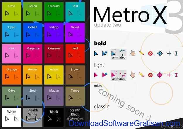Tema Kursor Mouse Gratis Terbaik untuk Windows Metro X3 Cursor Set