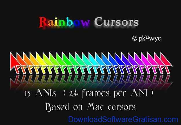 Tema Kursor Mouse Gratis Terbaik untuk Windows Rainbow Cursors