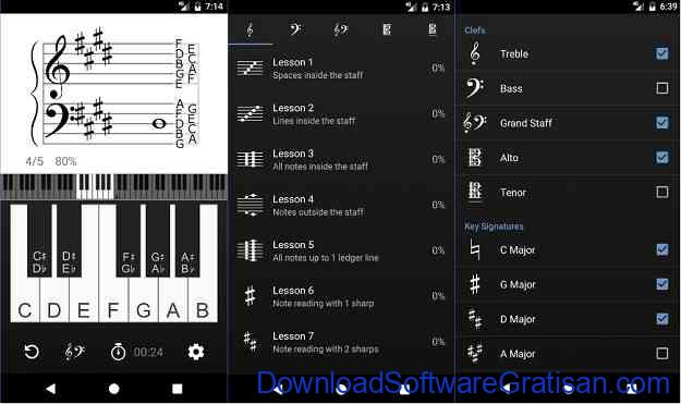 Aplikasi untuk belajar membaca musik Android Vivace Learn to Read Music