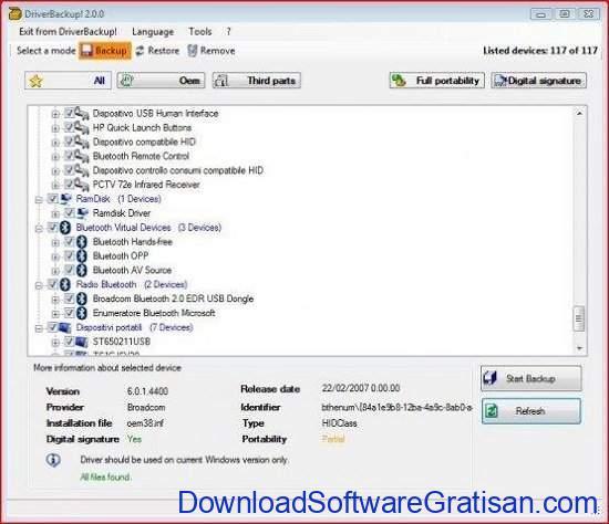 Aplikasi Backup Driver Gratis untuk Windows 10 DriverBackup