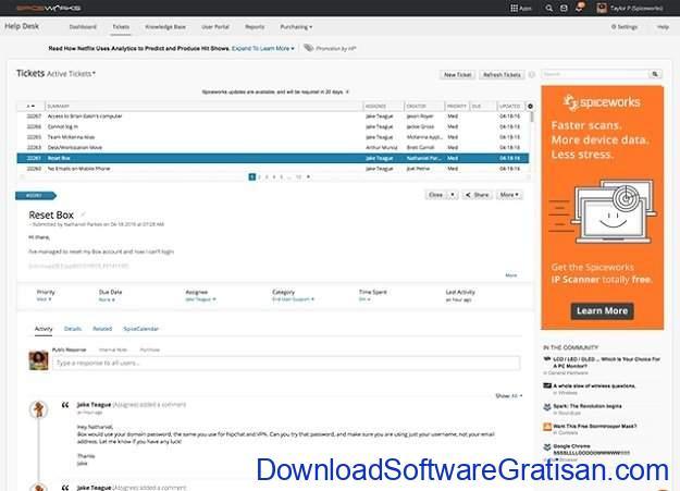 Aplikasi Bantuan Teknik (Help Desk) Gratis & Open Source Spiceworks