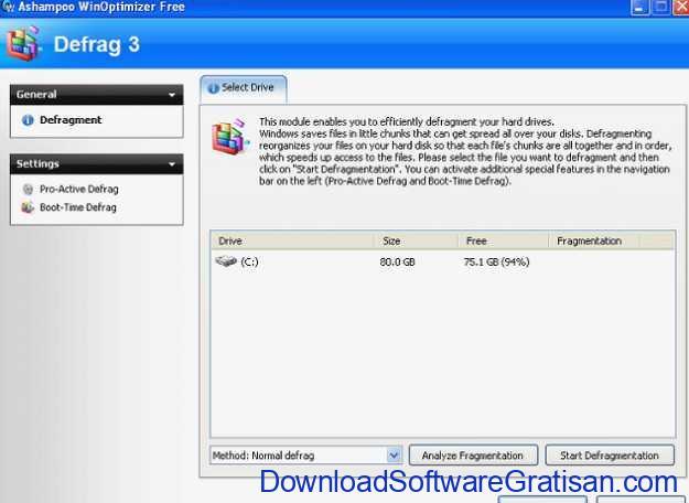Aplikasi Defrag Gratis Terbaik untuk PC Ashampoo WinOptimizer Free