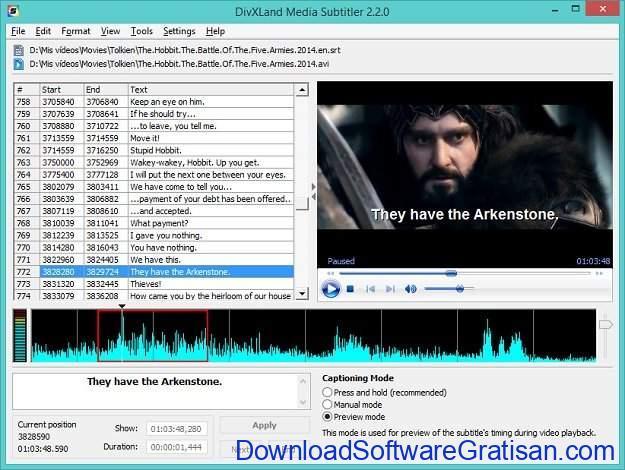 Aplikasi Edit Subtitle Gratis DivXLand Media Subtitler