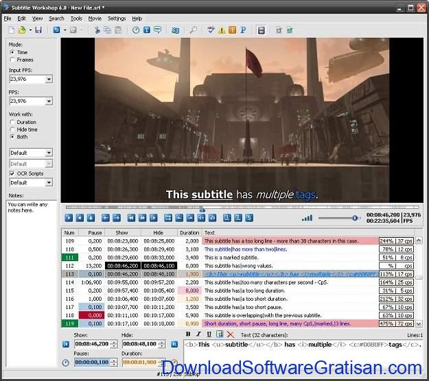 Aplikasi Edit Subtitle Gratis Subtitle Workshop