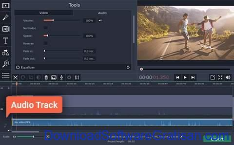 Aplikasi Edit Video Slow Motion PC Gratis Movavi Video Editor - sesuaikan audio 2